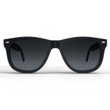 Black spartan frame polarized sunglasses with silver accents