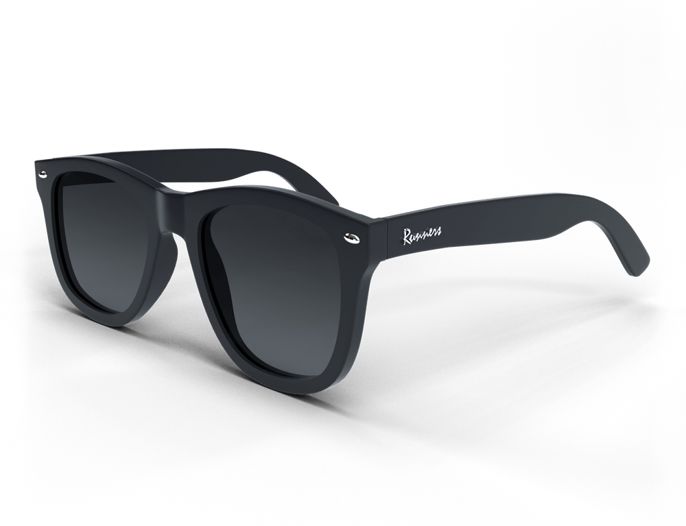 Black spartan frame sunglasses with silver accents