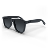 Black spartan frame sunglasses with black accents