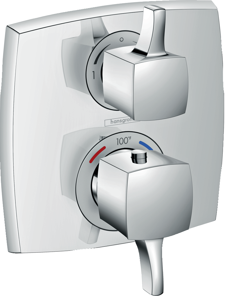 Ecostat Classic  Thermostatic Trim with Volume Control and Diverter, Square - FaucetMart