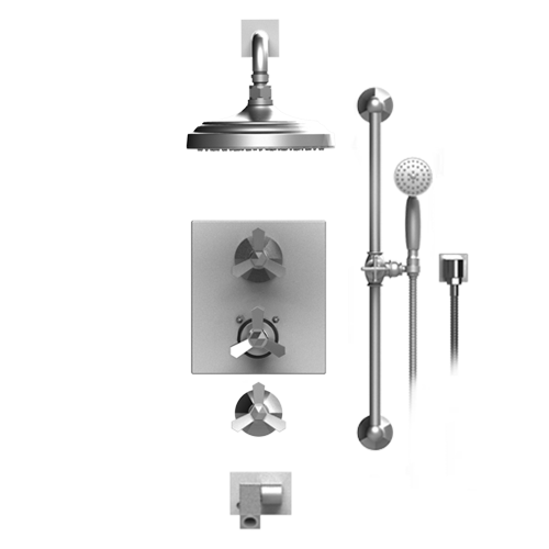 RUBINET HEXIS 27HXC TEMPERATURE CONTROL SHOWER WITH TWO WAY DIVERTER & SHUT-OFF, WITH ONE SEPERATE VOLUME CONTROL, HAND HELD SHOWER, BAR, INTEGRAL SUPPLY, WALL MOUNT BIDET/FOOT RINSE, SHOWER HEAD & ARM, 8