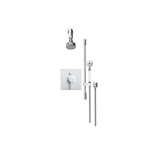 RUBINET R10 213RTL PRESSURE BALANCE SHOWER WITH FIXED SHOWER HEAD & ARM HAND HELD SHOWER, BAR & INTEGRAL SUPPLY, 8