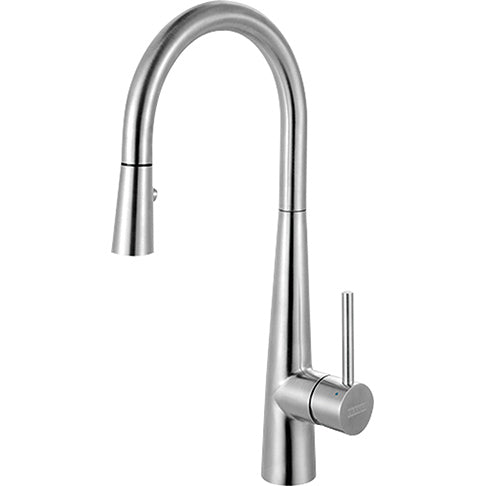 FRANKE  FFP3450  STEEL PULL DOWN FAUCET WITH INTEGRATED SPRAYER, SIDE LEVER HANDLE - FaucetMart