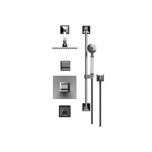 RUBINET MATTHEW QUINN 233MQL PRESSURE BALANCE TUB & SHOWER WITH THREE WAY DIVERTER SHARED FLOW, FIXED SHOWER HEAD & ARM, TUB FILLER SPOUT, HAND HELD SHOWER, BAR & INTEGRAL SUPPLY 8