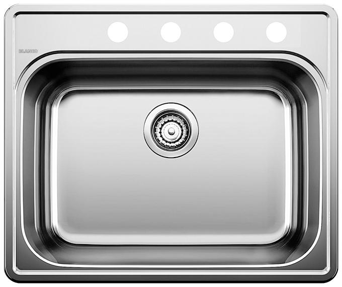 BLANCO  401104   ESSENTIAL 1 (4 Hole) Stainless Steel sink - FaucetMart