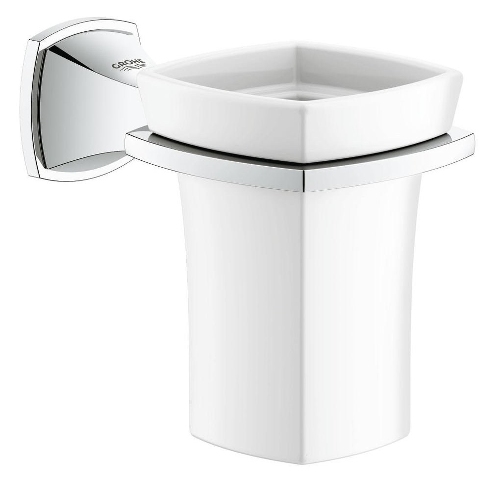 GROHE 40626000 GRANDERA HOLDER WITH CERAMIC TUMBLER - FaucetMart