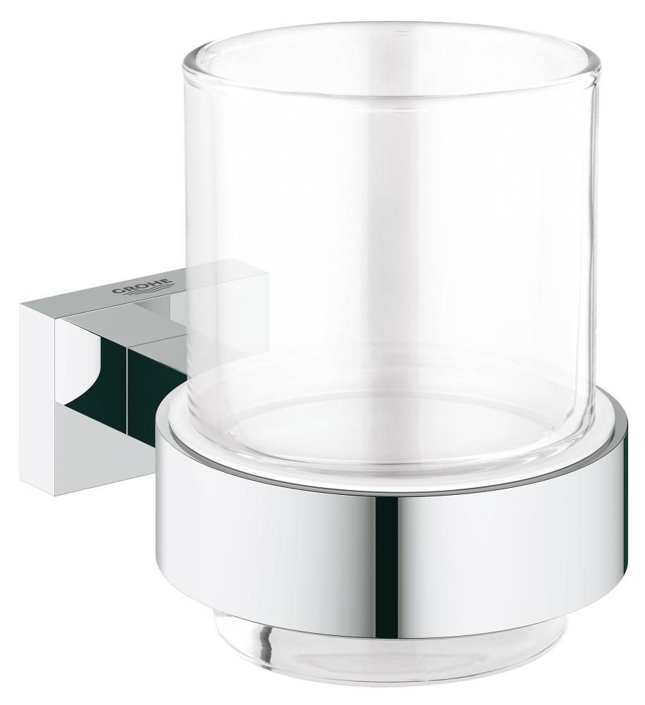 GROHE 40755001 ESSENTIALS CUBE CRYSTAL GLASS WITH HOLDER - FaucetMart