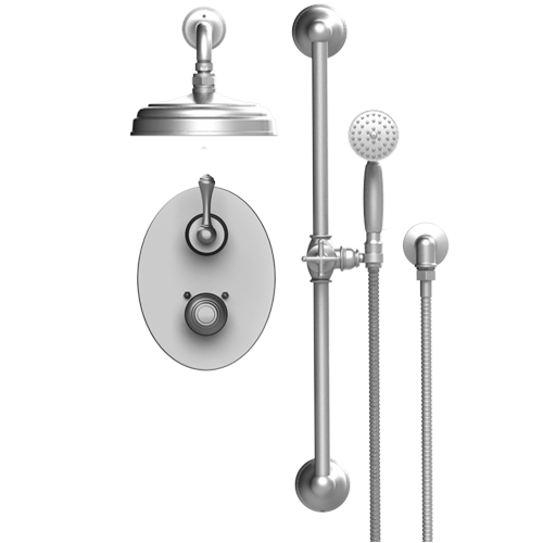 RUBINET Flemish 21FMC TEMPERATURE CONTROL SHOWER WITH TWO WAY DIVERTER & SHUT-OFF, HAND HELD SHOWER, BAR, INTEGRAL SUPPLY & AQUATRON SHOWER HEAD & ARM 8