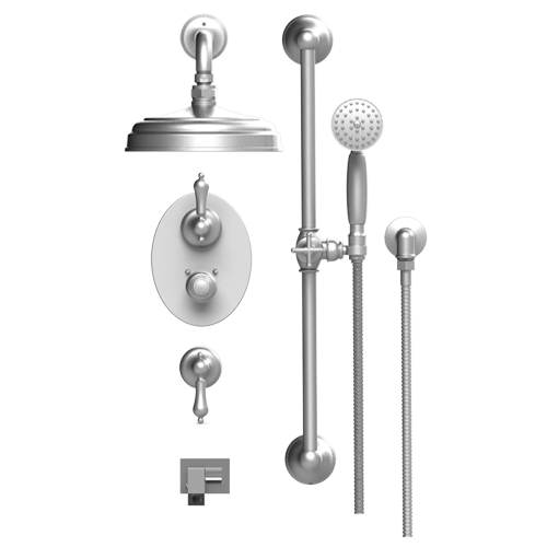 RUBINET Romanesque 27RML TEMPERATURE CONTROL SHOWER WITH TWO WAY DIVERTER & SHUT-OFF, WITH ONE SEPERATE VOLUME CONTROL, HAND HELD SHOWER, BAR, INTEGRAL SUPPLY WALL MOUNT BIDET/FOOT RINSE & FIXED SHOWER HEAD & ARM 8