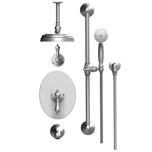 RUBINET Romanesque 233RML PRESSURE BALANCE TUB & SHOWER WITH THREE WAY DIVERTER SHARED FLOW, AQUATRON SHOWER HEAD & ARM, TUB FILLER SPOUT, HAND HELD SHOWER, BAR & INTEGRAL SUPPLY 8