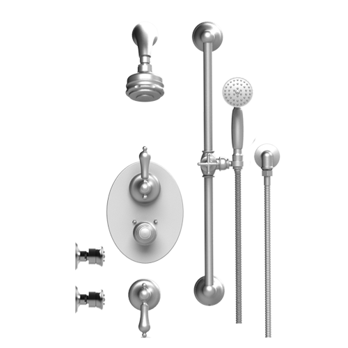 RUBINET Romanesque 30RML TEMPERATURE CONTROL SHOWER WITH TWO WAY DIVERTER & SHUT-OFF, WITH ONE SEPERATE VOLUME CONTROL, HAND HELD SHOWER, BAR, INTEGRAL SUPPLY, TWO BODY SPARYS & AQUATRON SHOWER HEAD & ARM 3 FUNCTION WALL MOUNT TRIM ONLY - FaucetMart