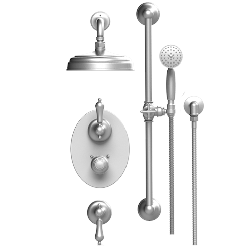 RUBINET Romanesque 41RML TEMPERATURE CONTROL SHOWER WITH TWO SEPERATE VOLUME CONTROLS, AQUATRON SHOWER HEAD, BAR, INTEGRAL SUPPLY & HAND HELD SHOWER 3 FUNCTION WALL MOUNT TRIM ONLY - FaucetMart