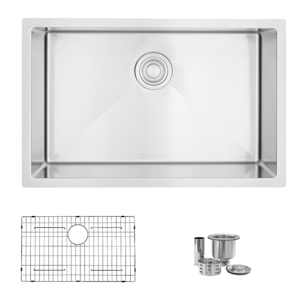 Stylish S 306tg 28 L X 18 W Stainless Steel Single Basin Dual Mount Kitchen Sink With Grid And Strainer Faucetmart