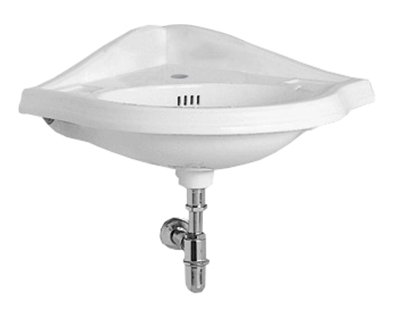 WHITEHAUSE AR884 Isabella Collection Corner Wall Mount Basin with Faucet Drilling, Oval bowl, Backsplash, Dual Soap Ledges and Overflow - FaucetMart