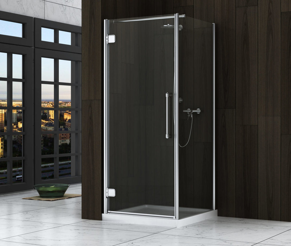 ZITTA EPOCA CHROME CLEAR STRAIGHT CORNER INSTALLATION SHOWER DOOR - FaucetMart