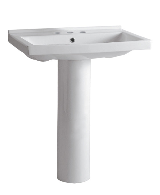 WHITEHAUSE LU024-LU005 Isabella Collection Tubular Pedestal Sink with Rectagular Basin, Chrome Overflow and Single Hole Faucet Drilling - FaucetMart