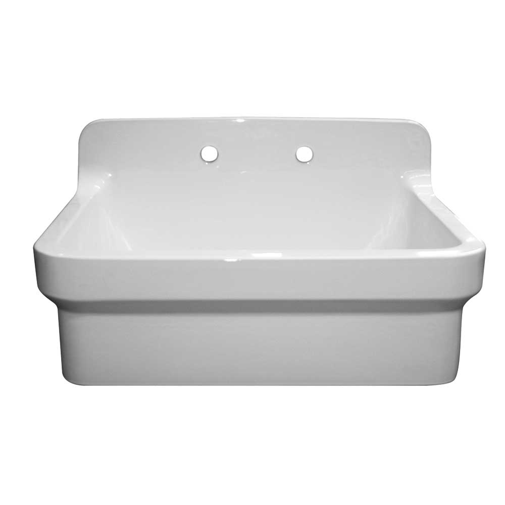 WHITEHAUSE OFCH2230 Old Fashioned Country Fireclay Utility Sink with High Backsplash - FaucetMart