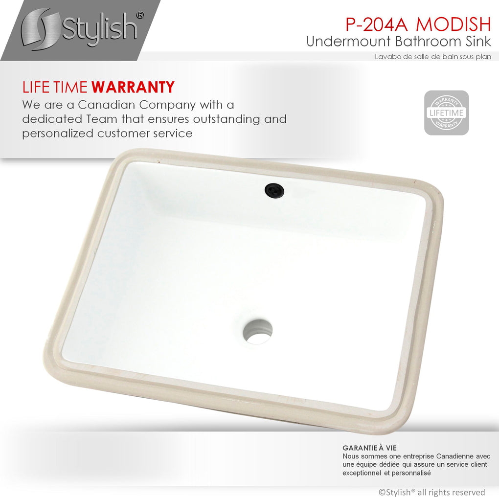 Porcelain Rectangular 20 inch Undermount Bathroom Sink with Overflow - FaucetMart