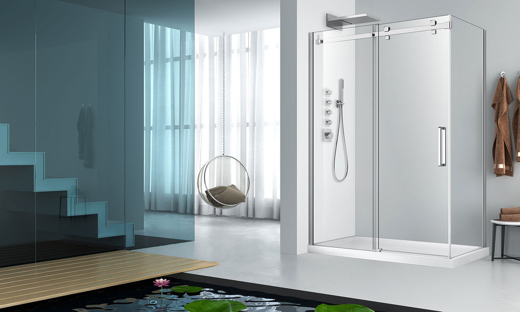 ZIITA PIAZZA STRAIGHT SHOWER DOOR WALL CLOSING CHROME CLEAR - FaucetMart