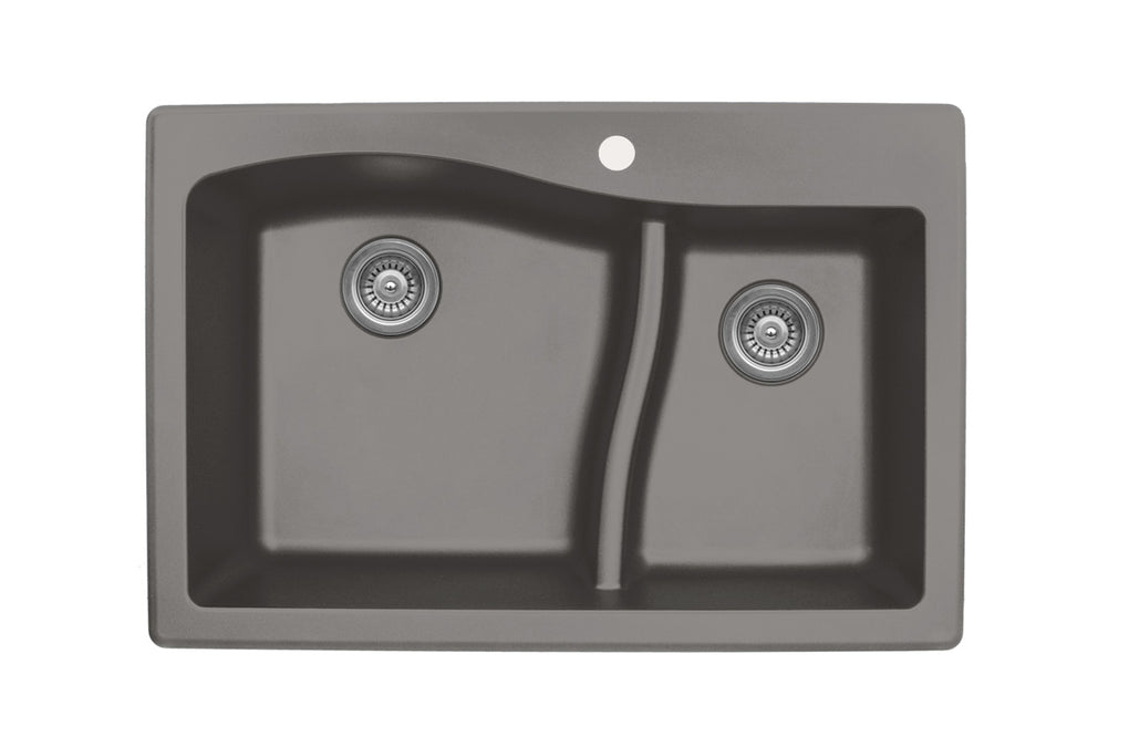 KARRAN QT630BL LARGE/SMALL BOWL  QT SERIES - QUARTZ - TOP MOUNT KITCHEN SINK - FaucetMart