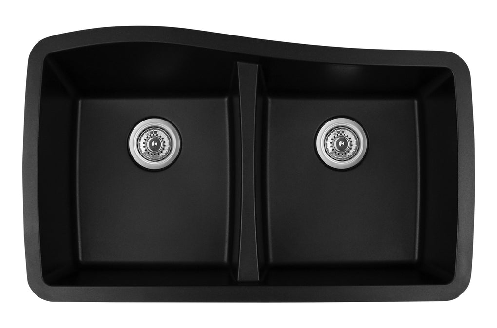 KARRAN QU720BL DOUBLE EQUAL BOWL QU SERIES - QUARTZ UNDERMOUNT KITCHEN SINK - FaucetMart