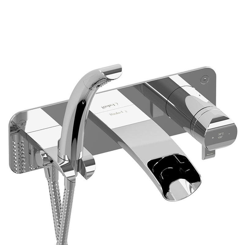 RIOBEL SA07C WALL-MOUNT TYPE T/P (THERMO/PRESSURE BALANCE) COAXIAL OPEN SPOUT TUB FILLER WITH HAND SHOWER - FaucetMart