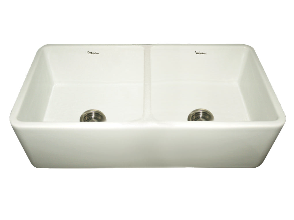 WHITEHAUSE WH3719 Farmhaus Fireclay Duet Series Reversible Sink with Smooth Front Apron - FaucetMart
