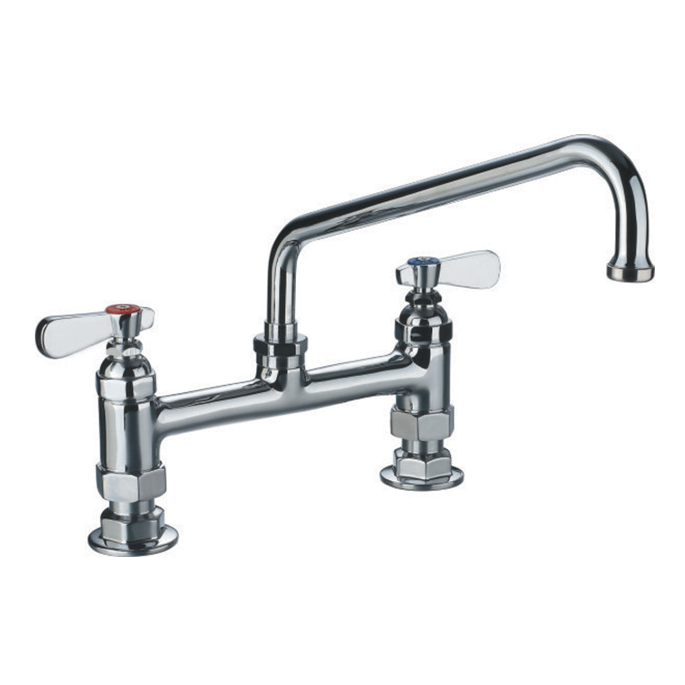 WHITEHAUSE WHFS9813-12-C Heavy Duty Utility Bridge Faucet with an Extended Swivel Spout and Lever Handles - FaucetMart