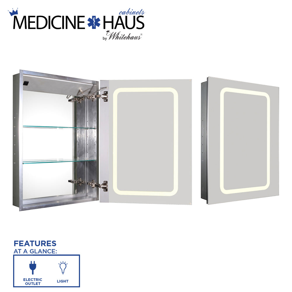 WHITEHAUSE WHKAL7055-I Medicinehaus Recessed Single Mirrored Door Medicine Cabinet with Outlet and LED Power Dimmer for Light - FaucetMart