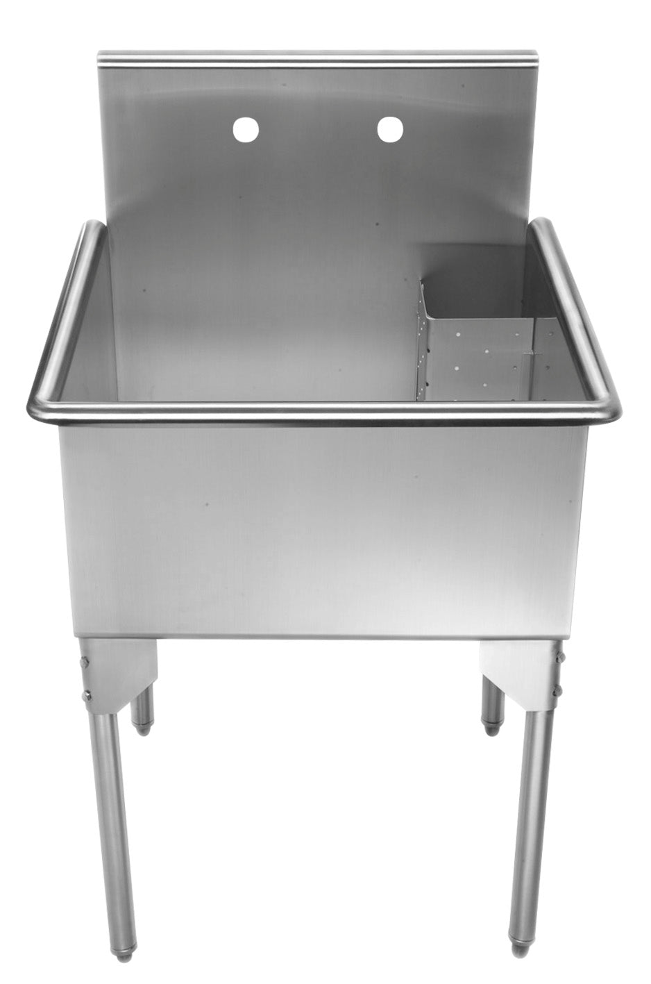WHITEHAUSE WHLS2424-NP Pearlhaus Brushed Stainless Steel Square, Single Bowl Commerical Freestanding Utility Sink - FaucetMart