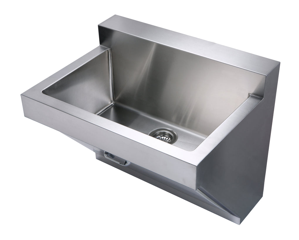 WHITEHAUSE WHNC3022W Noah's Collection Brushed Stainless Steel Commercial Single Bowl Wall Mount Utility Sink - FaucetMart
