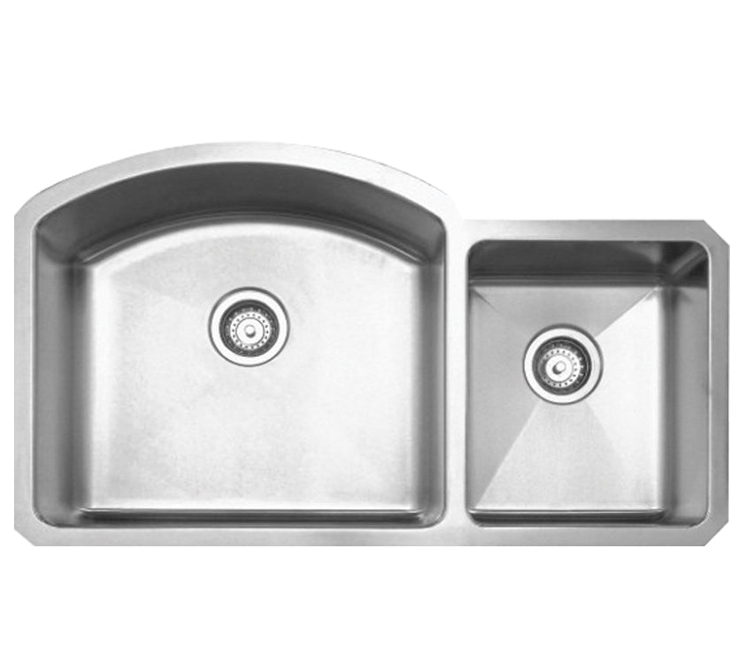 WHITEHAUSE WHNC3721 Noah's Collection Brushed Stainless Steel Chefhaus Series Double Bowl Undermount Sink - FaucetMart