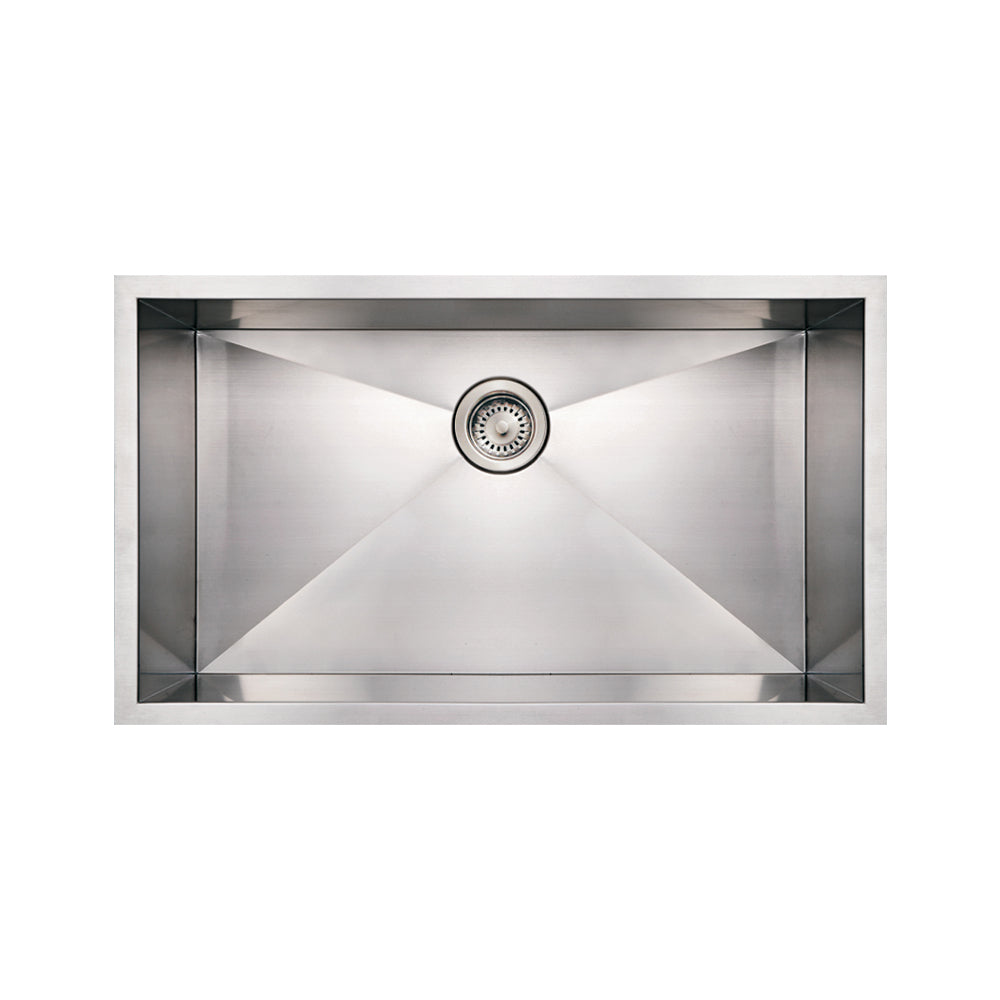 WHITEHAUSE WHNCM3219 Noah's Collection Brushed Stainless Steel Commercial Single Bowl Undermount Sink - FaucetMart