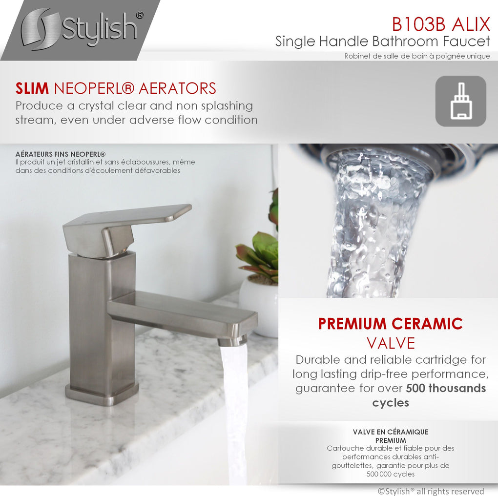 Stylish B-103B Single Hole Bathroom Faucet - FaucetMart