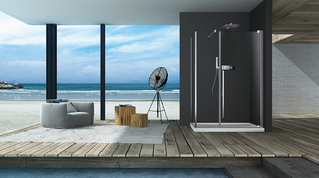 ZITTA AMALY STRAIGHT SHOWER CORNER INSTALLATION DOOR CHROME CLEAR - FaucetMart