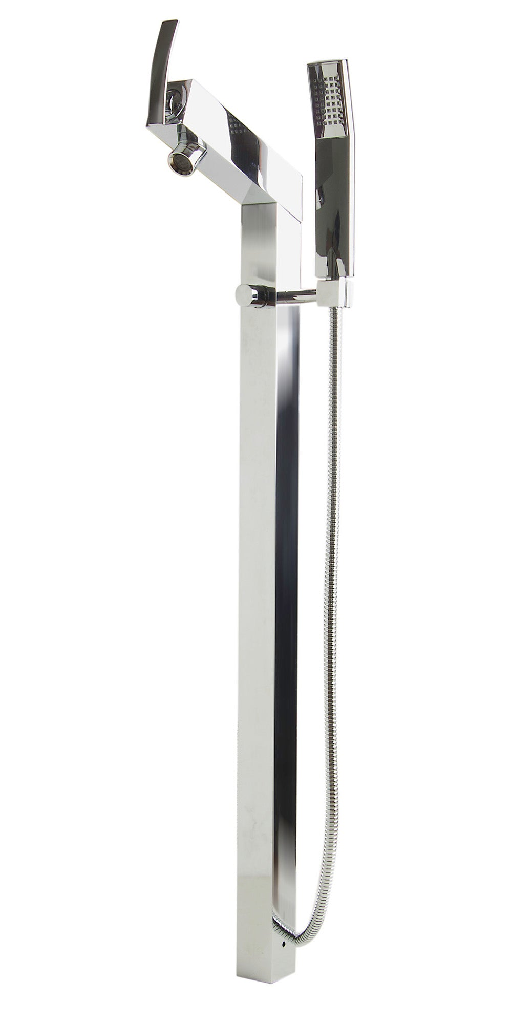 ALFI Floor Mounted Tub Filler + Mixer /w additional Hand Held Shower Head - FaucetMart