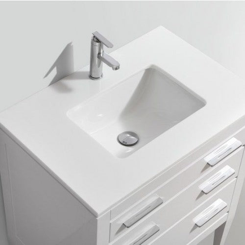 KubeBath Eiffel 30'' High Gloss White Vanity W/ Quartz Counter Top With  2 Solid Wood Drawers - FaucetMart