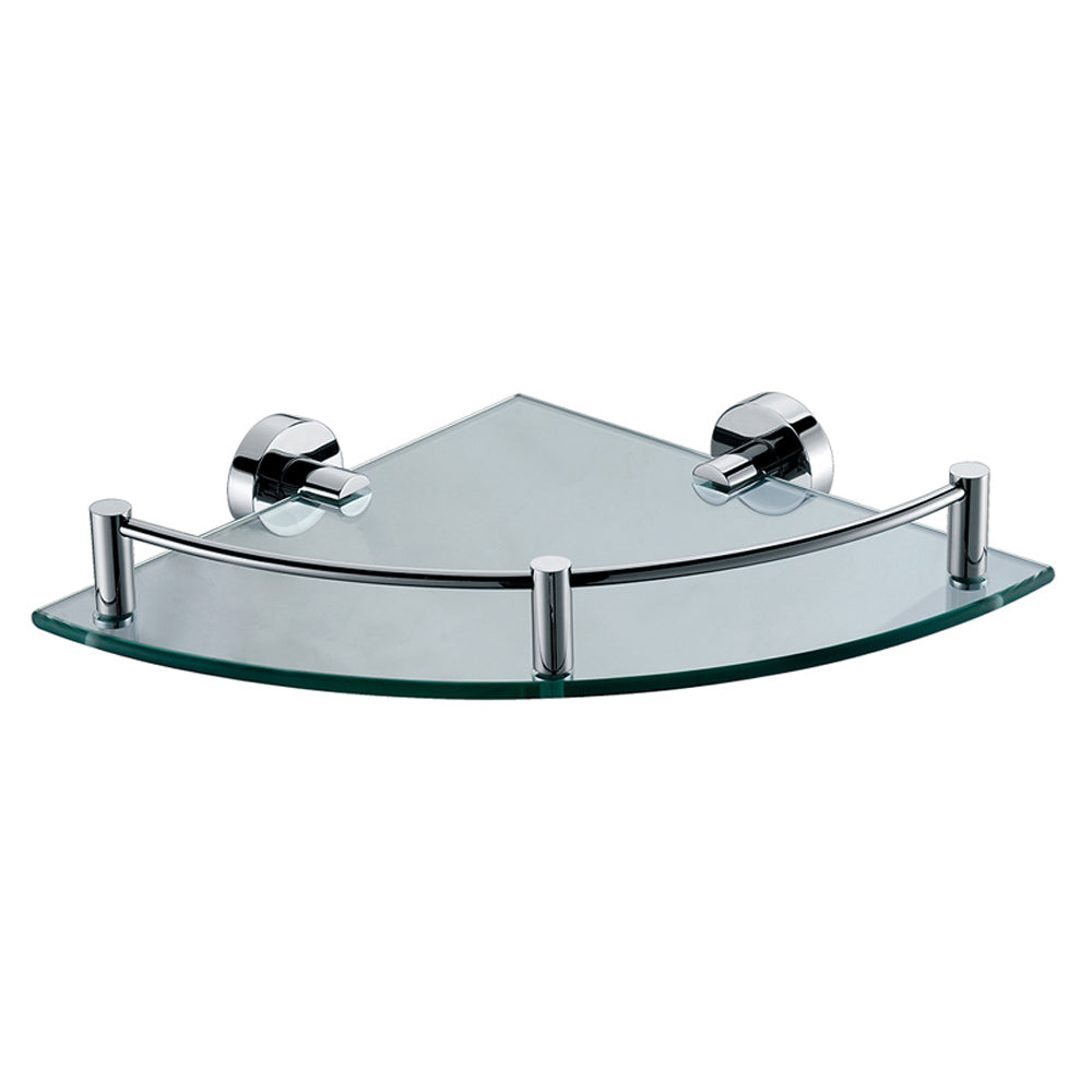 Polished Chrome Corner Mounted Glass Shower Shelf Bathroom Accessory - FaucetMart