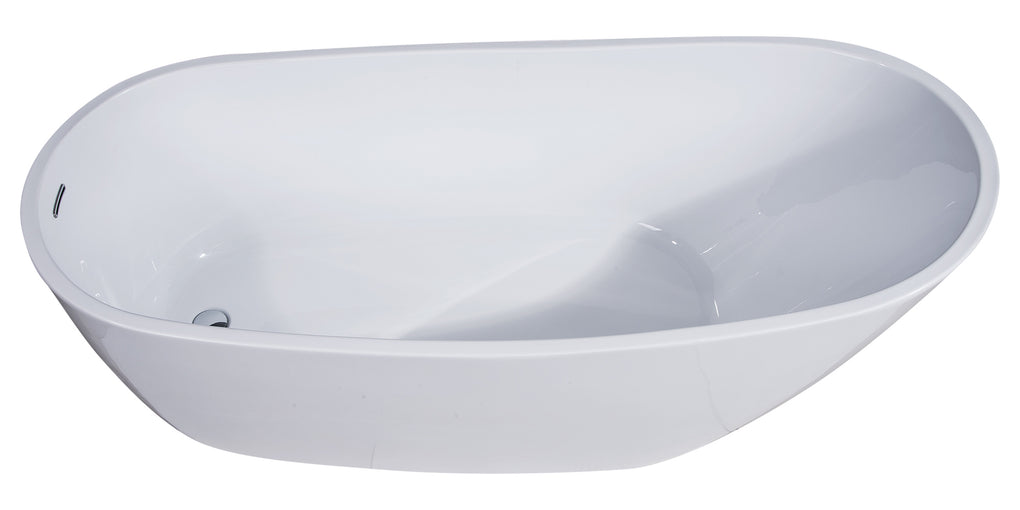 68 inch White Oval Acrylic Free Standing Soaking Bathtub - FaucetMart
