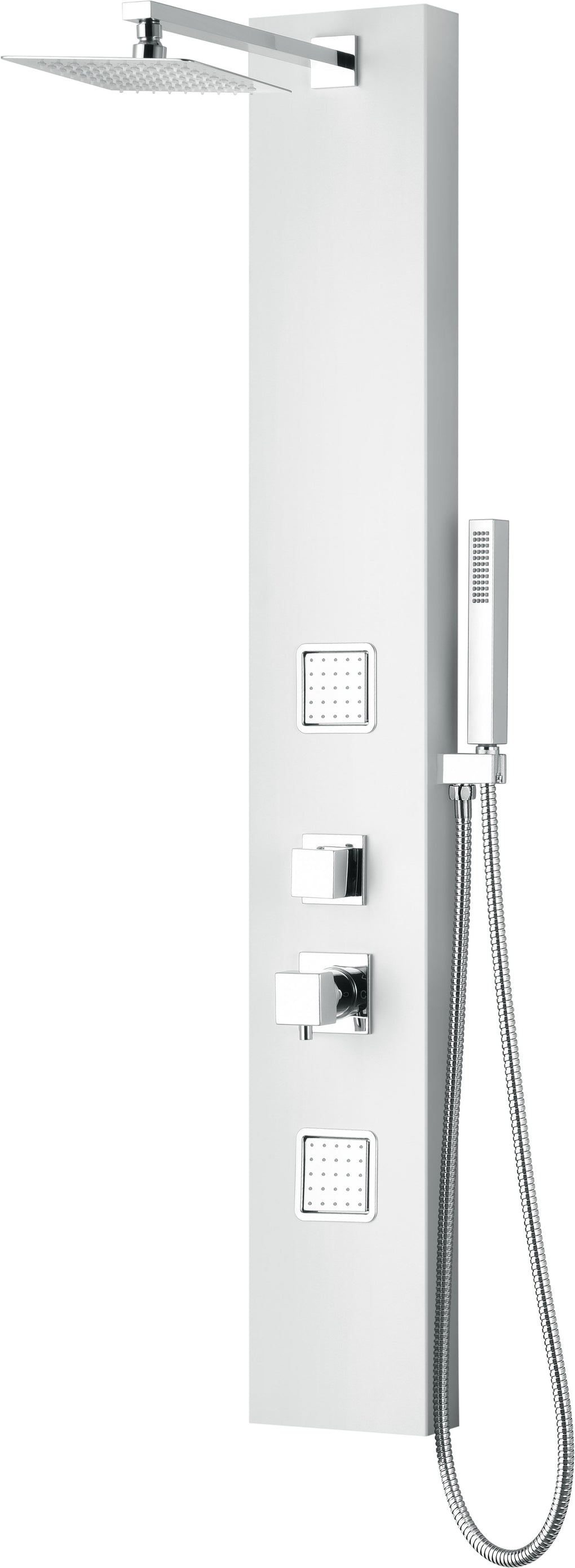 White Aluminum Shower Panel with 2 Body Sprays and Rain Shower Head - FaucetMart