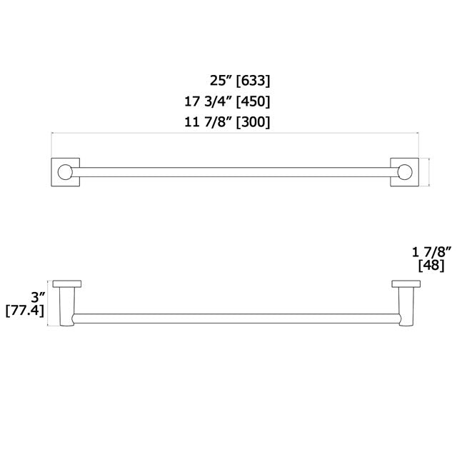 Laloo Hero Single Towel Bar H2612 - FaucetMart