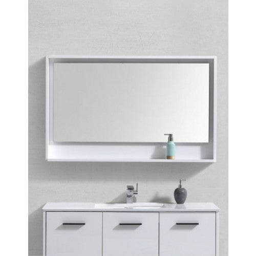 KubeBath Nature Wood Framed Mirror W/ Shelf - FaucetMart