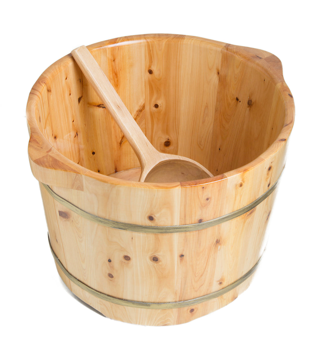 Round Wooden Cedar Foot Soaking Tub - FaucetMart