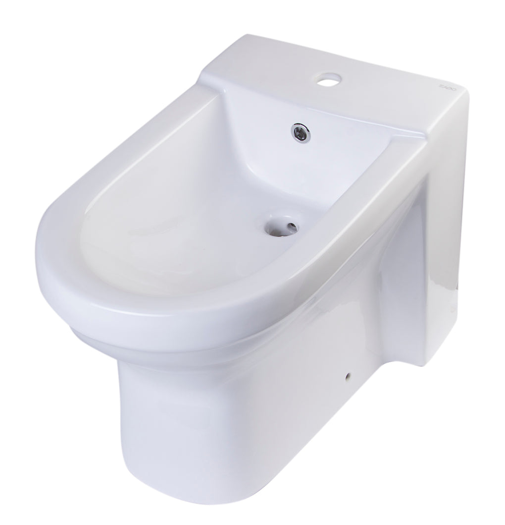 White Ceramic Bathroom Bidet with Elongated Seat - FaucetMart