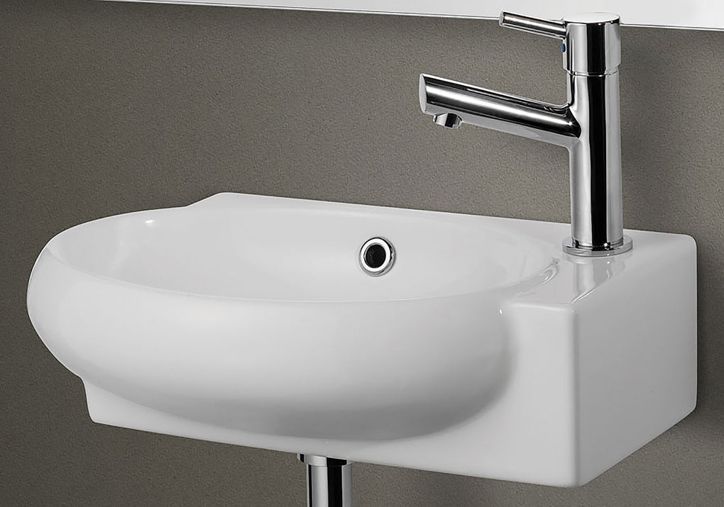 Small White Wall Mounted Ceramic Bathroom Sink Basin - FaucetMart