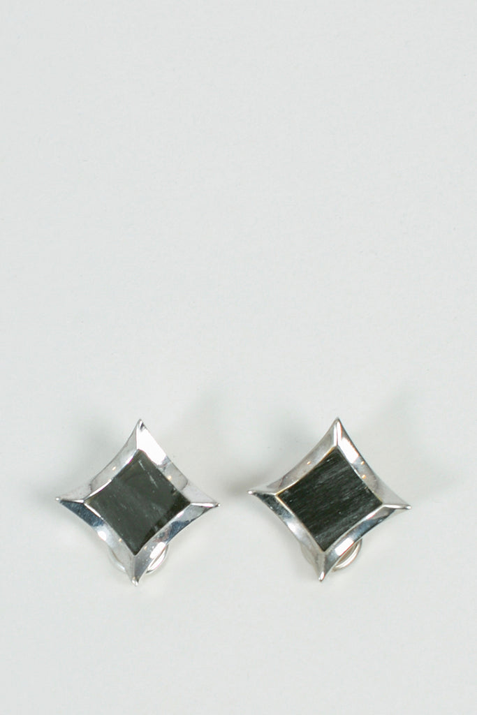 Stud Earrings Silver Obsidian