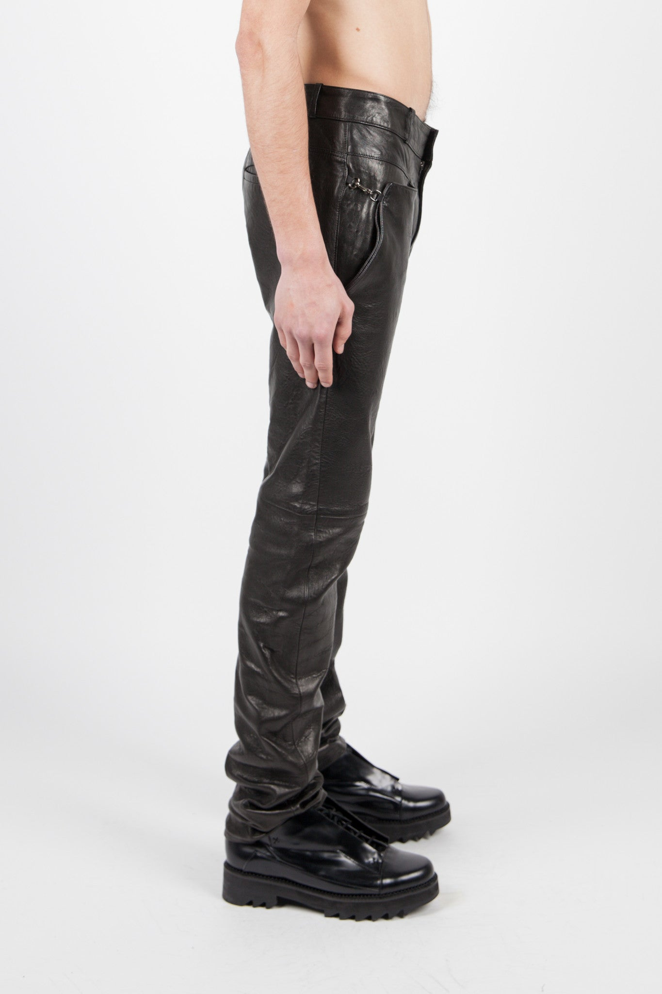 Y/PROJECT - BLACK LEATHER TROUSERS