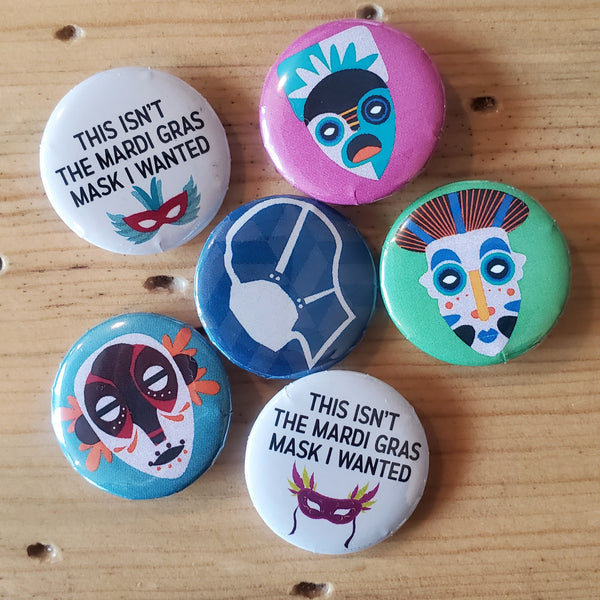 "Pin back buttons: Sold in sets of 2 - Group 2 ""Images of Masks"""