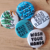"Pin back buttons: Sold in sets of 2 - Group 9 ""Wash 'em, wear 'em"""