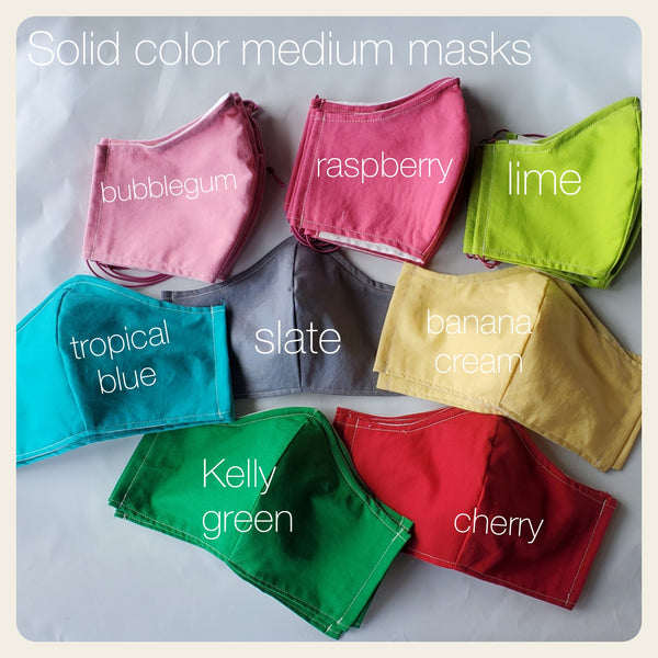 Solid colors face mask coverings with filter pocket size medium